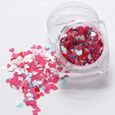 Valentines Nail Art Holographic PINK BLUE Heart Spangles Glitter 3D Decoration