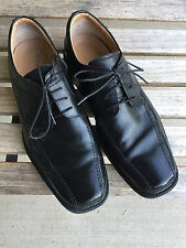 Mens 11.5 M Rockport Black Leather Dress Shoes Bicycle Toe Lace Comfort Oxfords