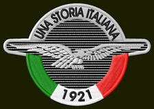 "MOTO GUZZI UNA STORIA EMBROIDERED PATCH ~4"" x 2-3/4"" MOTORCYCLE PARCHE AUFNÄHER"