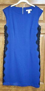 Laundry by Design Sleeveless Blue Sheath Lace Side Back Zipper Size 6 Dress