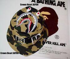 A BATHING APE 1ST CAMO Shark Bucket HAT Men's Yellow L Authentic fr BAPE JAPAN