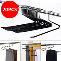 20x Metal Open-end Non Slip Slacks Towel Pants Hanger Clothes Bar Storage Holder