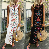 Plus Size Women's Casual Linen Printed Sleeveless V-neck Dress Mid-Calf Sundress