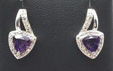 Sterling Silver 925 Trillion Purple Amethyst CZ Halo Swirl Stud Post Earrings