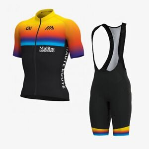 Summer Breathable Mens Cycling Jersey Bib Shorts Set Team Sports Bicycle Uniform