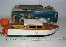 """* 1950s? 11"""" Long Wood Electric Model Boat with Mermaid Motor In The Box"""