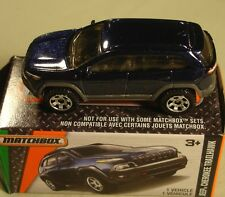 """Matchbox boxed Jeep Cherokee Trailhawk navy blue #102 """"Power Grabs"""" 2016"""