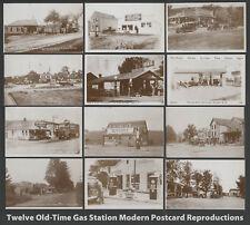 Set of Twelve Modern Postcard Reproductions of VINTAGE GAS STATIONS New Unused