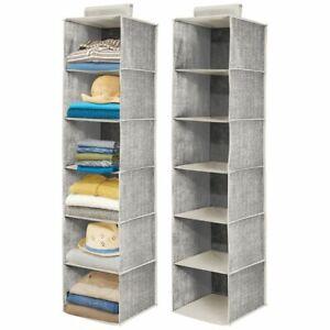 mDesign Long Fabric Over Closet Rod Hanging Organizer, 6 Shelves, 2 Pack - Gray