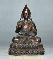 """9 """"bronze bijou bouddhisme lotus siège Tsongkhapa Tsongkhapa Statue de Bouddha"""
