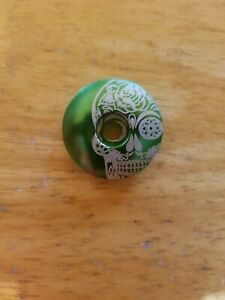"""Mexican Day of the Dead Sugar Skull Bicycle Headset Top Stem Cap 1 1/8"""" Green"""