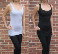 Womens Ladies Stretch Black Long Length Vest Top Size 8 10 12 14 16 18 20 Tall