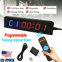 Digital Display Interval Gym Training Timer Wall Clock Programmable with Remote