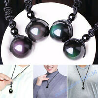 18mm Black Obsidian Necklace Lucky Beads Pendant Women Men Fashion Jewelry Gift