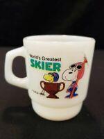Vintage Fire-King Peanuts Snoopy & Woodstock World's Greatest Skier Coffee Mug