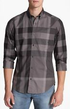 New Burberry Brit 'Fred' Trim Fit Sport Shirt Button Down Top Charcoal Gray M