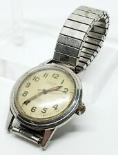 Vintage LUSINA GENEVE 17 Jewels Antimagnetic Incabloc Swiss Military Dial Watch
