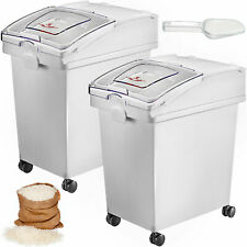 More details for 2 x 25 l ingredient storage bin rice flour bin on wheels 5.5 gallons with scoop