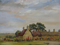 LARGE WATERCOLOUR COTTAGES LISTED ARTIST PHYLLIS MORGANS FREE SHIPPING ENGLAND