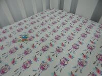 Cot Sheet Fitted Pink Dreamcatchers White Pure Cotton Fits to 79x130cm mattress