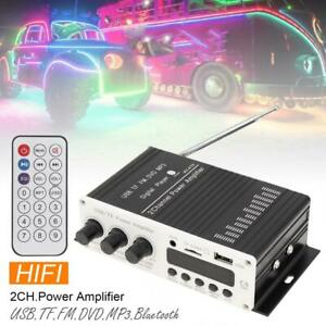 2CH  Power Amplifier HIFI Mini Stereo Audio Player AMP USB FM Mic Home Car
