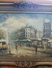 """BAROQUE FRAME VINT OIL PAINTING EARLY 1900'S STREET SCENE 36""""x 24"""" CANVAS SIGNED"""