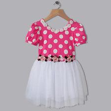 Girls polka dot tutu dress with ribbon rosettes & pearls size 1,2,3,4,5,