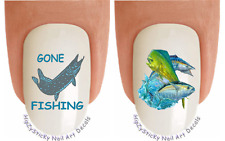 Nail Art #2211 FISH Big Game Fishing 2 Waterslide Nail Decals Transfer Sticker