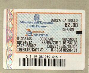 MARCA DA BOLLO DA € 2,00 - 27/05/2020 - AD USO COLLEZIONISTICO -