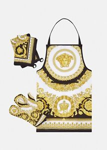 Versace Medusa Barocco Kitchen 5 pcs Set, Cooking Apron, Oven Gloves, Towels