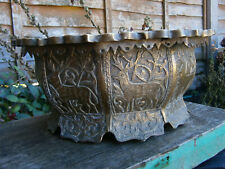 More details for unusual antique 9 sided metal jardiniere bowl