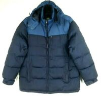 NordicTrack Jacket Men's Hooded Puffy Puffer Warm Winter Coat Blue Size Large