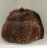 Mink Hat Ushanka Pot Poht Russian Brown Fur Ear Flaps Vintage Size 59 cm