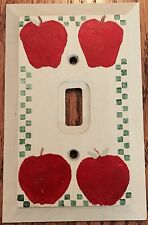HAND-STENCILED COUNTRY APPLE WOODEN LIGHT SWITCH PLATE/COVER - SINGLE (1-GANG)