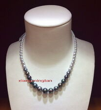 "round AAAAA 18""9-12mm real natural SOUTH sea white black pearl necklace 14K"