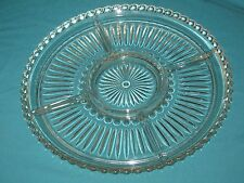 """Vintage Clear Glass Divided Relish Dish Platter Plate13.5"""" Party Tray #DH12"""