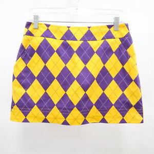 Loudmouth Skort Mini Skirt Womens 2 Golf Purple Yellow Argyle Plaid Stretch