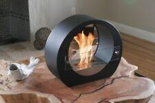 Portable Outdoor Indoor Round Modern Design Fireplace Green Ethanol Fuel - Black