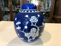 "Vintage Japanese Porcelain Blue & White Prunus Ginger Jar with Lid, 8 1/2"" Tall"