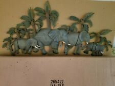 Elephant Metal Wall Plaque Rustic Grey and Green Looks like a family
