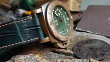 Genuine Green Croc Leather for PANERAI & All Bronze watch 24 or 26 mm  + 2 Buckl