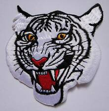 WHITE TIGER PANTHERA TIGRIS RACING Small Embroidered Iron on Patch Free Postage