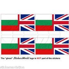 BULGARIA-UK Flag, Bulgarian-British Union Jack 50mm Vinyl Stickers, Decals x4