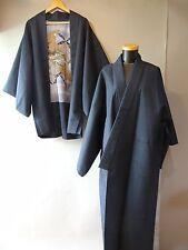 Men's Japanese Wool Kimono & Haori Jacket set Size ML~L Blue s4161