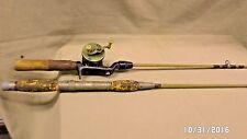 811D Vtg 2 Fishing Poles Shakespeare 1901 Reel & Pole + Bristol Cork Handle Pole