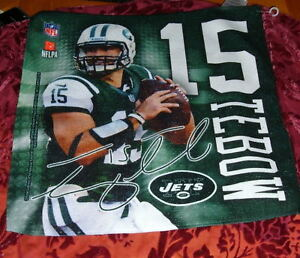 """TIM TEBOW #15 NEW YORK JETS 15"""" X 16 MICO FIBER  COLLECTION TOWEL AND DECALS NFL"""