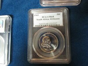 1965 South Africa Afrikaans 20Cent PCGS PR69 Population of 2 highest ever graded