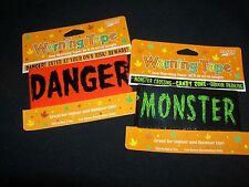 2 Halloween Warning Tape Monsters  Danger Beware Decoration
