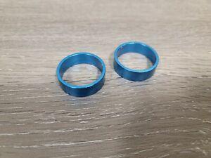 Anodized Blue Bike Headset Stem Spacers 10mm X 2 = 20mm 1 1/8 inch Aluminum