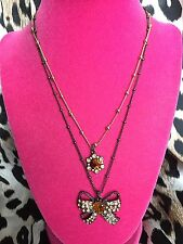Betsey Johnson Topaz Iconic Autumn Brown Crystal Amber Heart Bow Ribbon Necklace